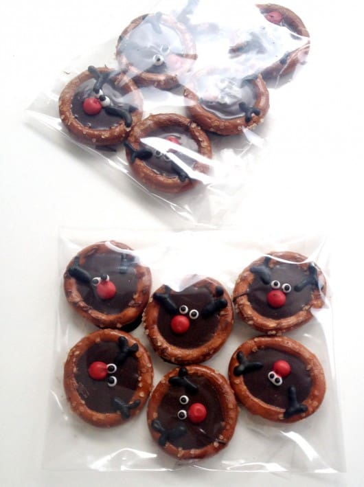 reindeer chocolate filled pretzel O's