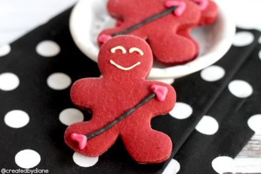 Cupid Gingerbread Boy RedVelvet Cookies
