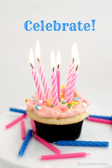 celebrate cupcake with lots of candles @createdbydiane