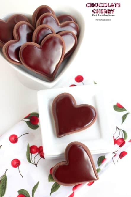 chocolate Cherry Cut Out Cookies @createdbydiane