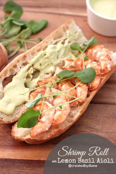 Shrimp Roll with Lemon Basil Aioli @createdbydiane