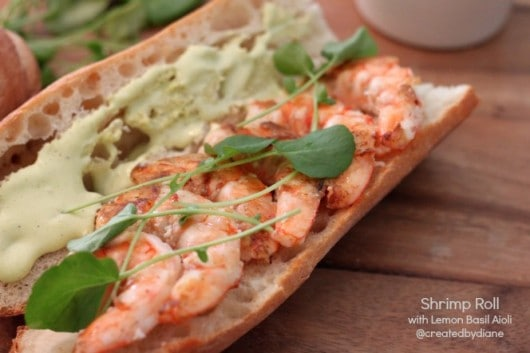 Srhimp Sandwich - Shrimp Roll with Lemon Basil Aioli from @createdbydiane