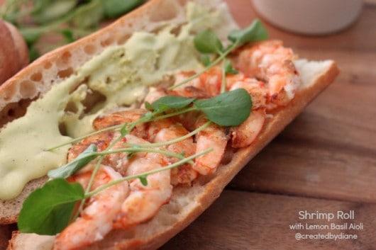 Srhimp Sandwich - Shrimp Roll with Lemon Basil Aioli from @createdbydiane
