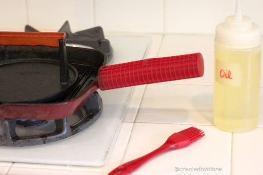 What I use to cook chicken every week, cast iron grill pan, cast iron press, oil, silicone brush .jpg