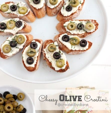 Cheesy Olive Crostini @createdbydiane