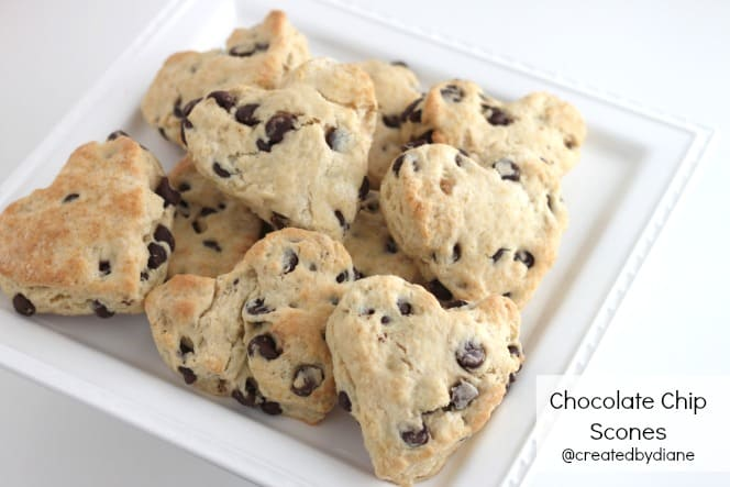 Heart Shaped Chocolate Chip Scones @createdbydiane