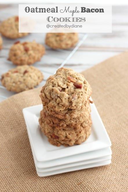 Oatmeal Maple Bacon Cookies @createdbydiane