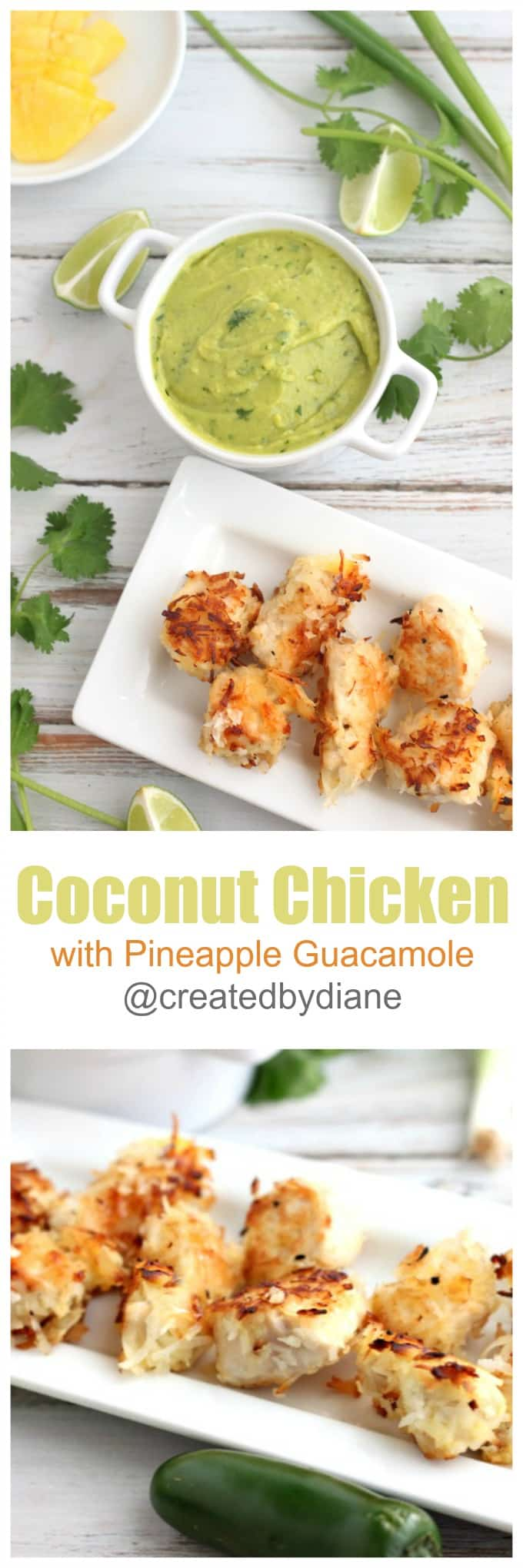 coconut chicken with pineapple guacamole @createdbydiane