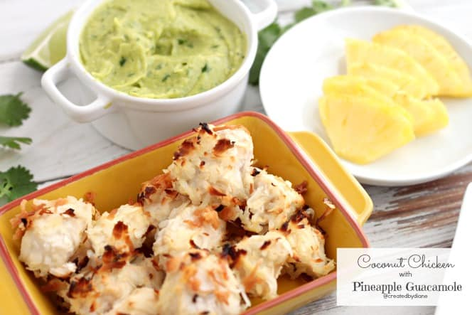 coconut chicken with tropical pineapple guacamole @createdbydiane