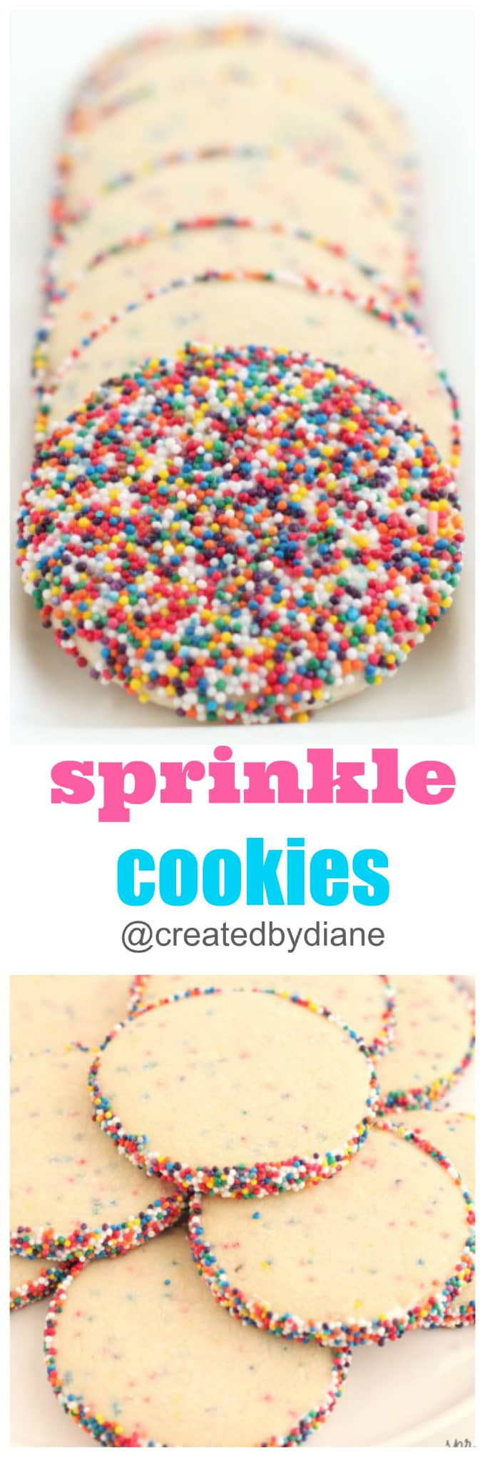 colored sprinkle cookies with rainbow nonpareils @createdbydiane