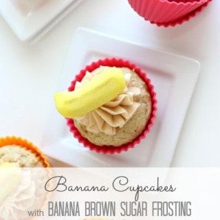 Banana Cupcakes with Banana Brown Sugar Frosting