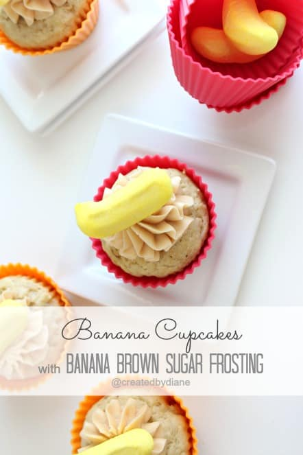 Banana Cupcakes with Banana Brown Sugar Frosting @createdbydiane