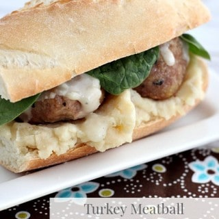 Turkey Meatball and Mashed Potato Sandwich
