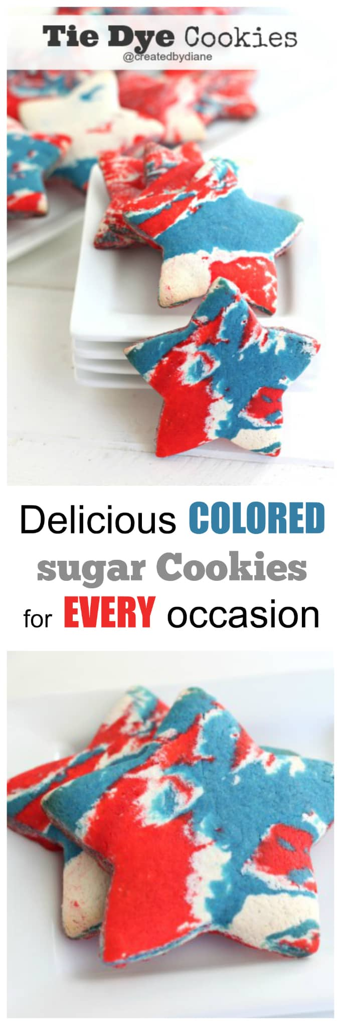 colored sugar cookie dough makes PRETTY tie dye cookies for holidays, parties and celebrating July4th