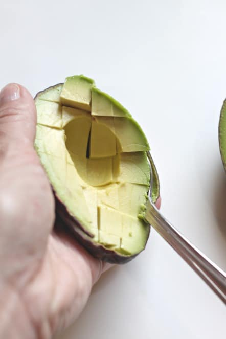 dicing an avocado