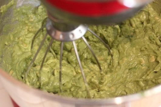mixing avocado in KitchenAid Mixer to freeze avocado
