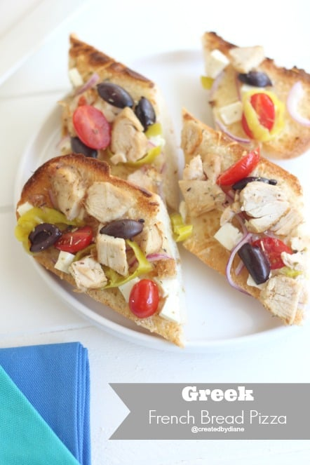 Greek French Bread Pizza from @createdbydiane