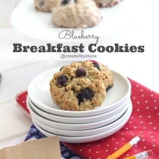 Blueberry Oatmeal Breakfast Cookies