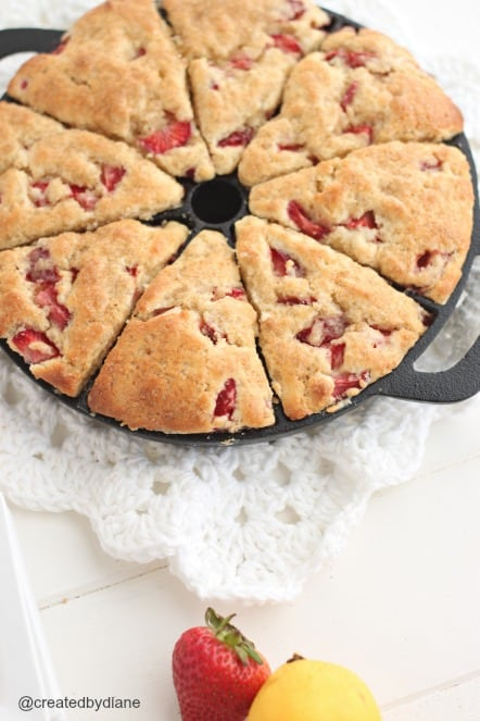 strawberry lemonade scones in cast iron scone pan @createdbydiane