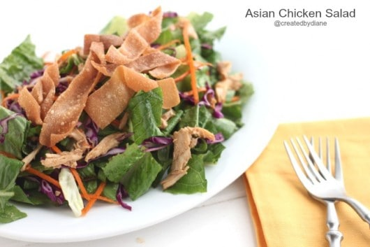 Asian Chicken Salad with Fried Wontons @createdydiane