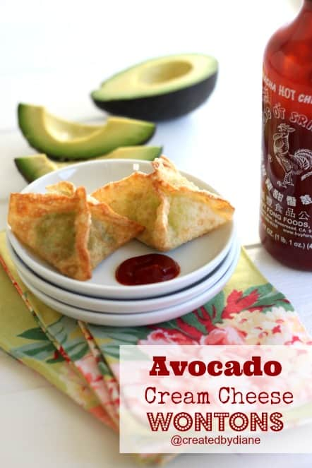 Avocado Cream Cheese Wontons Recipe #appetizer @createdbydiane