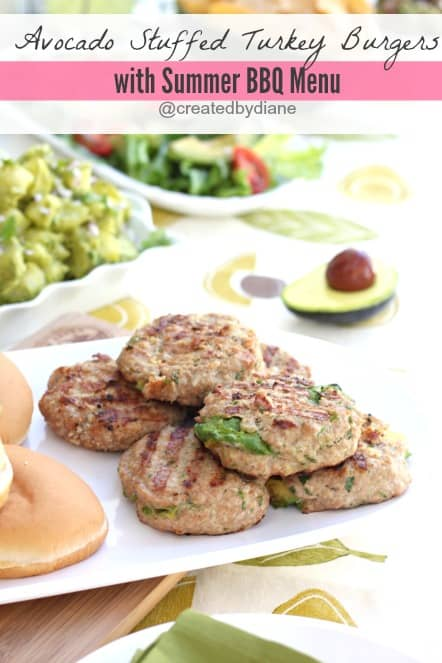 Avocado Stuffed Turkey Burgers with Summer BBQ Menu @createdbydiane