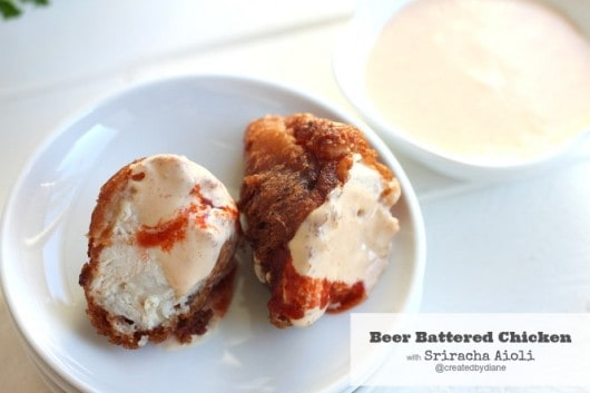 Beer Battered Chicken with Sriracha Aioli from @createdbydiane