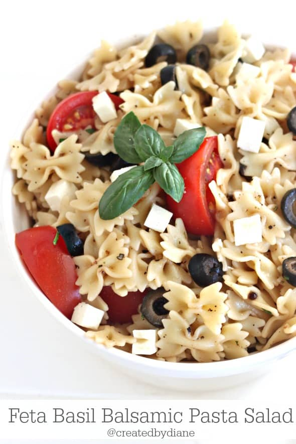 DELICIOUS summer recipe Feta Basil Balsamic Pasta Salad Recipe from @createdbydiane