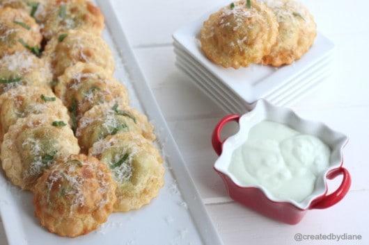 Easy Appetizer Fried Ravioli with Feta and Basil Yogurt Dip