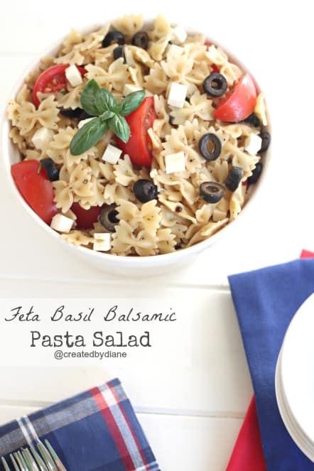 Feta Basil Balsamic Pasta Salad @createdbydiane