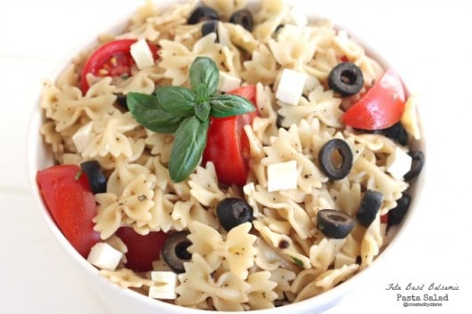 Feta Basil Balsamic Pasta Salad Recipe from @createdbydiane
