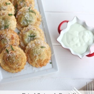 Fried Spinach Ravioli with Feta and Basil Dip