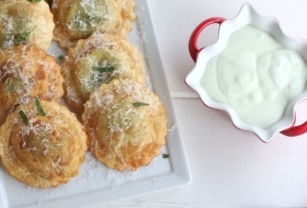Fried Spinach Ravioli with feta and basil dip @createdbydiane