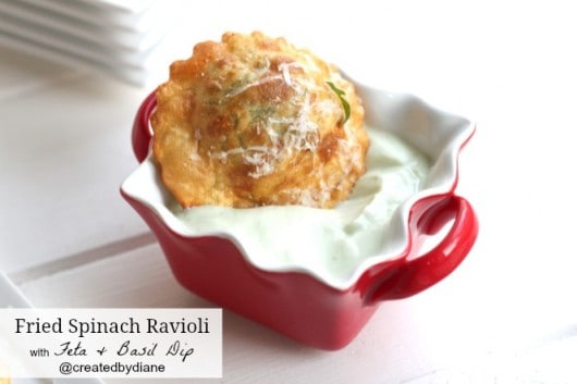 Fried Spinach Ravioli with feta and basil dip #easy #appetizer @createdbydiane
