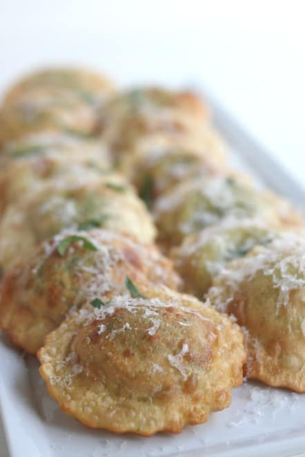 fried spinach ravioli