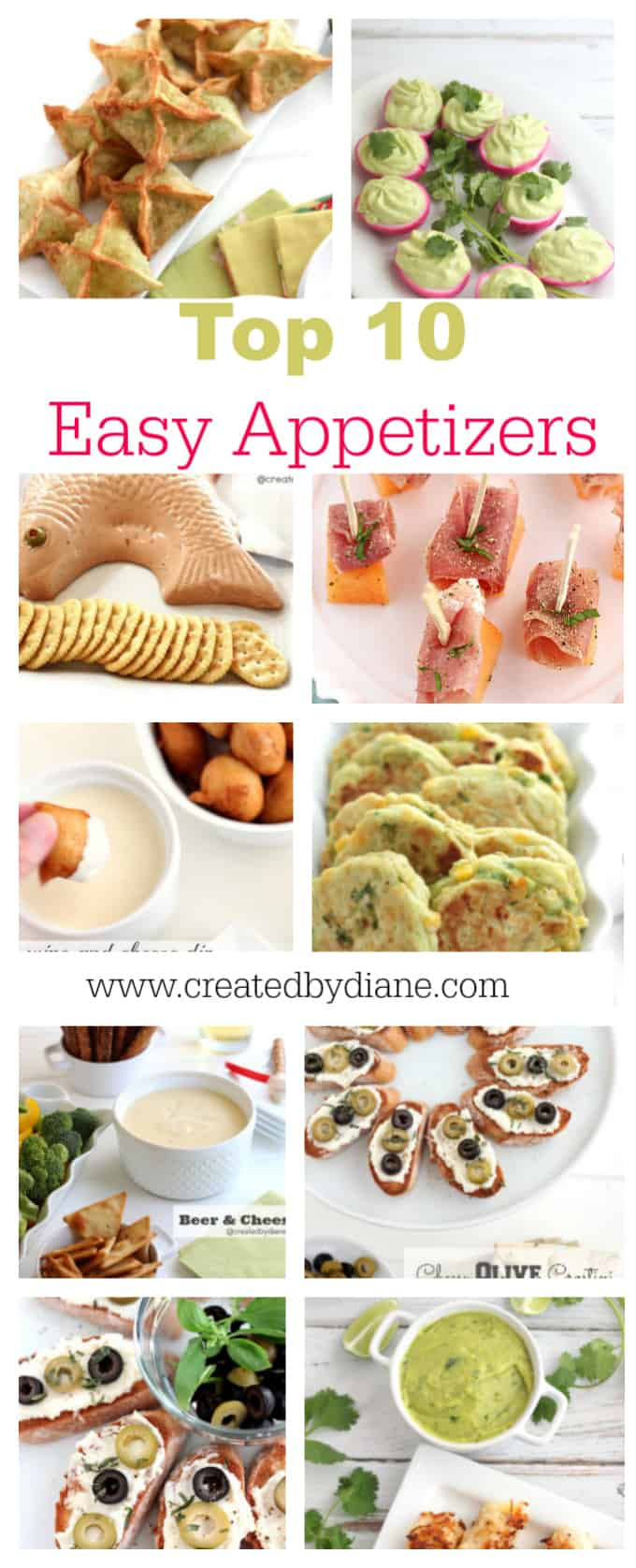 top 10 easy appetizers www.createdbydiane.com