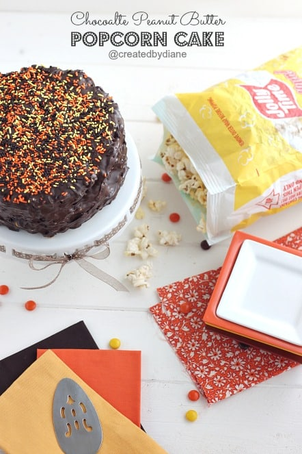 Chocolate Peanut Butter Popcorn Cake from @createdbydiane