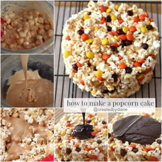 How to make a POPCORN CAKE from @createdbydiane #chocolate #peanutbutter #cake #popcorn