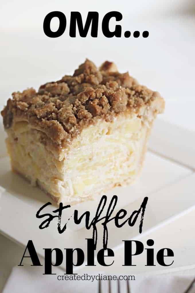 OMG the best stuffed apple pie, tastes like cheesecake apple pie, sour cream apple pie recipe createdbydiane.com