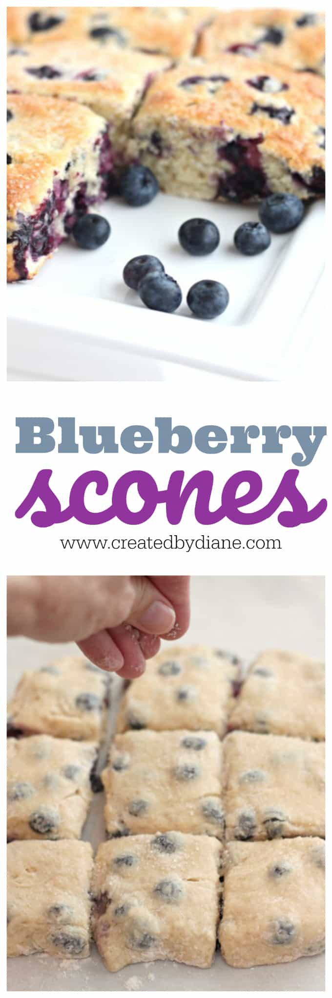 sugar being sprinkles over blueberry scones dough and baked blueberry scones