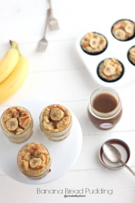 jars of banana bread pudding @createdbydiane