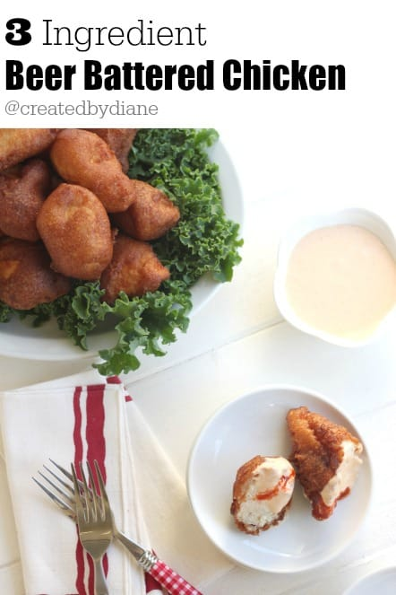 3 Ingredient EASY Beer Battered Chicken with Sriracha Aioli @createdbydiane