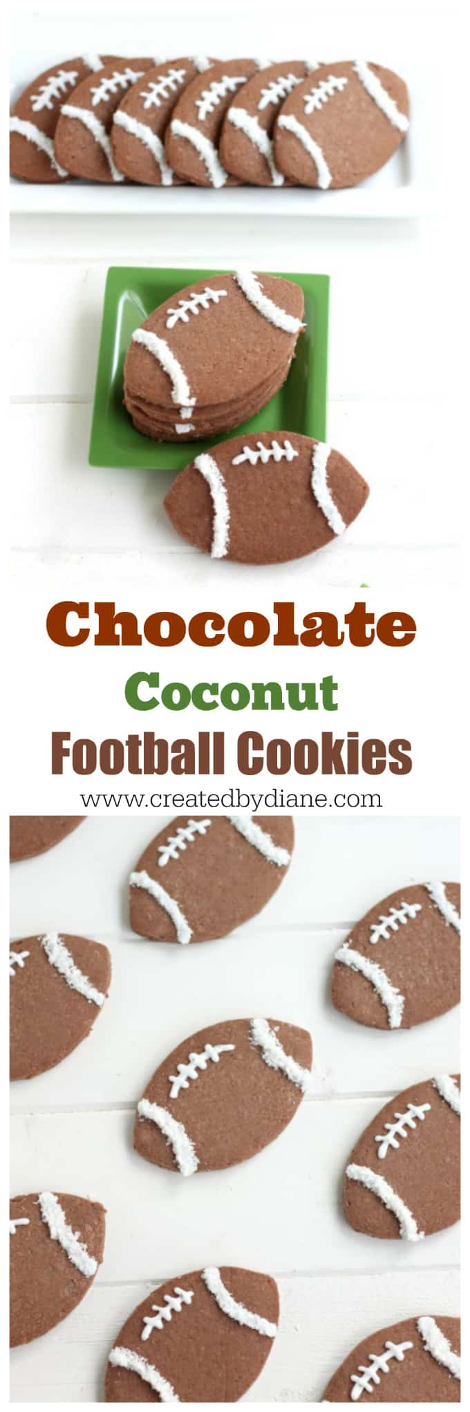 chocolate coconut FOOTBALL Cookies www.createdbydiane.com
