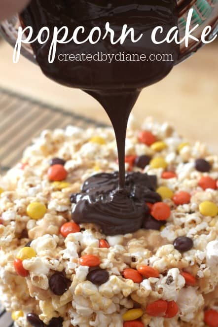 popcorn cake with peanut butter and covered in chocolate from createdbydiane.com