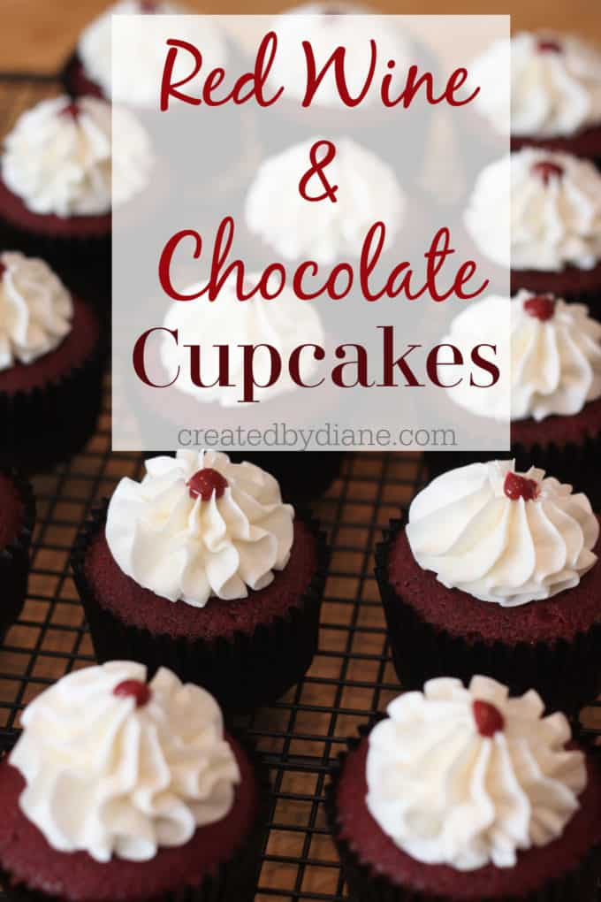 red wine and chocolate cupcakes createdbydiane.com