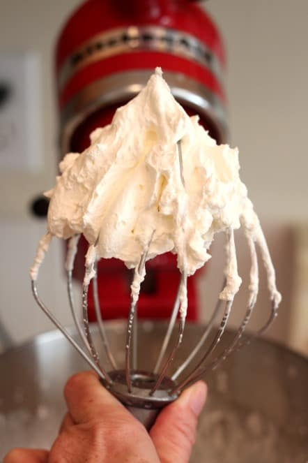 whipping heavy cream in a kitchen Aid Mixer @createdbydiane