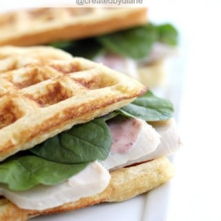 Cornbread Waffle Turkey Sandwiches with Cranberry Aioli