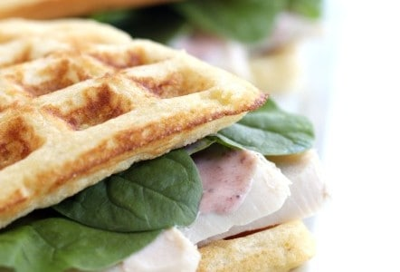 Cornbread Waffle Turkey Sandwiches with Cranberry Aioli @createdbydiane perfect for thanksgiving leftovers