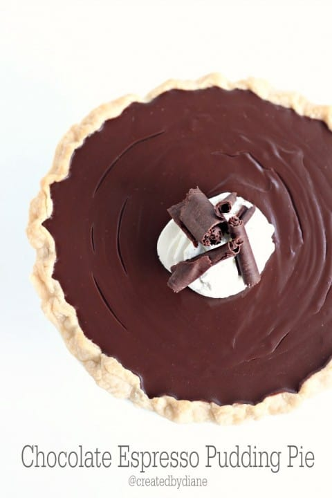 Homemade Chocolate Espresso Pudding Pie Recipe from @createdbydiane
