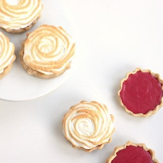 Mini Cranberry Lemon Meringue Pies baked in Mason Jar Lids @createdbydiane